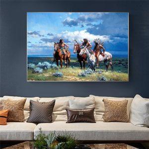 Tableau Amérindien Trois Chevaliers Indiens