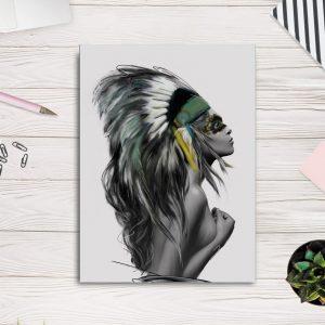 Tableau Amérindien Joli Indienne