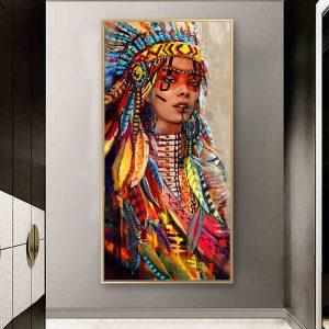 Tableau Amérindien Guerrière colorée