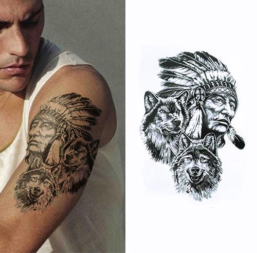 Tatouage Amérindien - Le loup et l'indien