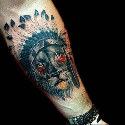 Tatouage Lion Coiffe Indienne