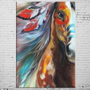 Tableau Amérindien Cheval Indien