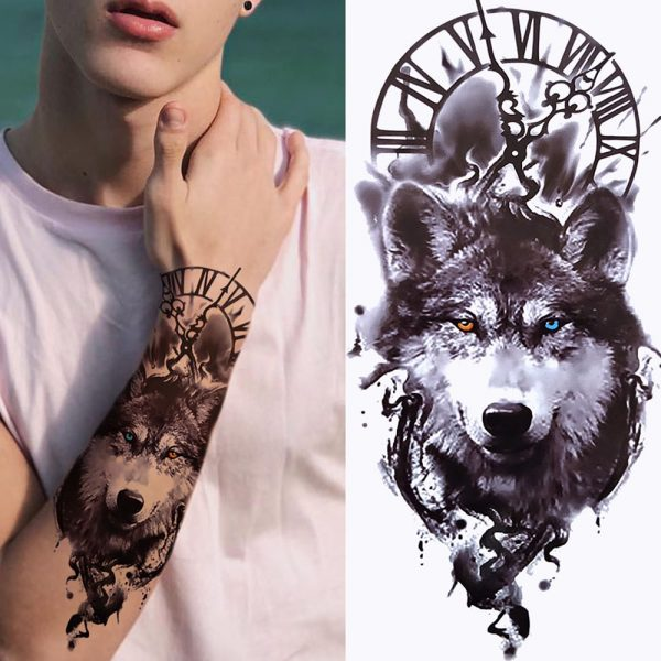 Tatouage Indien Loup - Loup Indien Avec Yeux Vairons