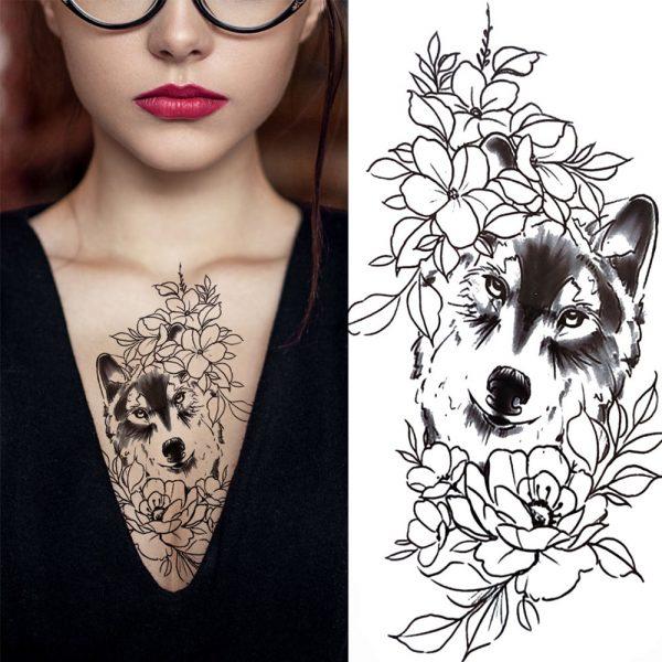 Tatouage Indien Loup - Tête de Loup plein fleurs