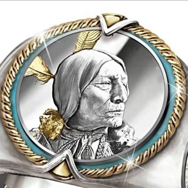 bague amérindienne tête chef indien