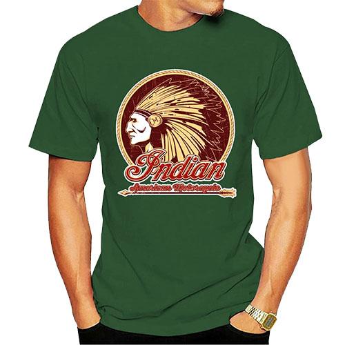 T-Shirt Indien Americain Motorcycle vert
