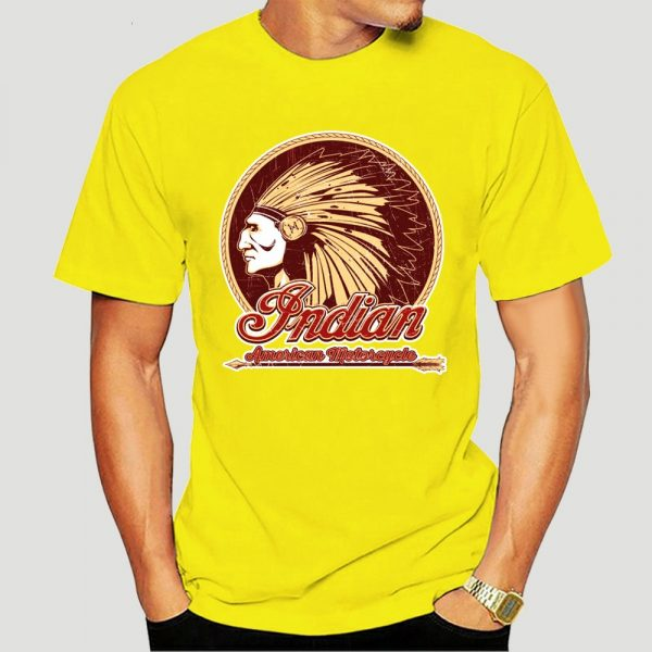 T-Shirt Indien Americain Motorcycle homme jaune