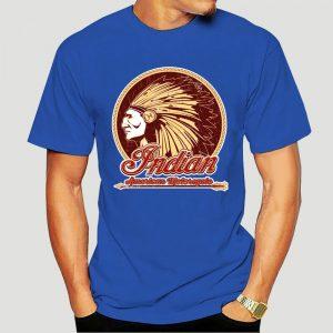 T-Shirt Indien Americain Motorcycle homme bleu