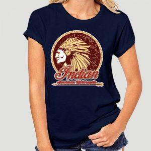 T-Shirt Indien Americain Motorcycle femme bleu nuit