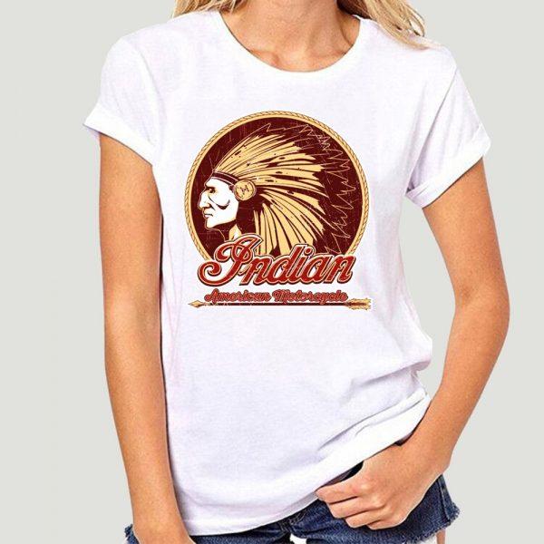 T-Shirt Indien Americain Motorcycle femme blanc