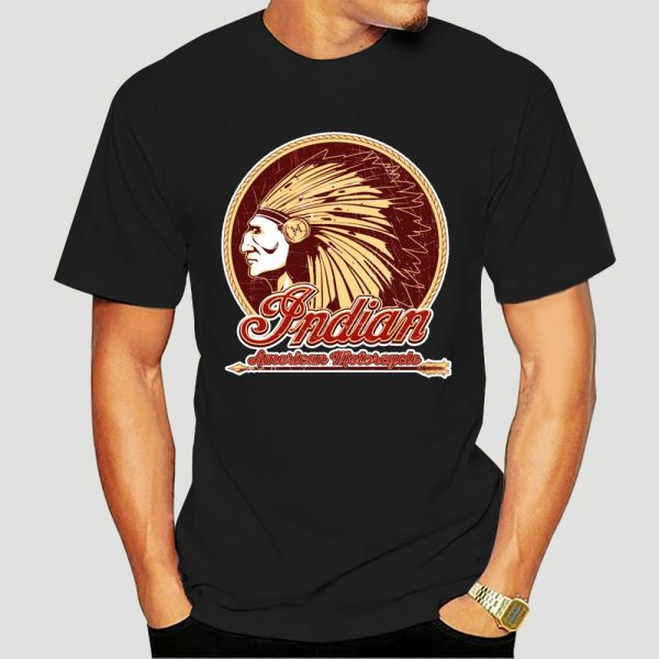 T-Shirt Indien Americain Motorcycle homme marron