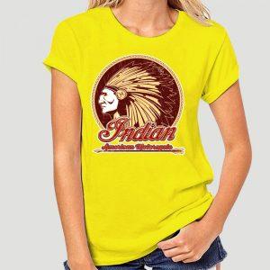T-Shirt Indien Americain Motorcycle femme jaune