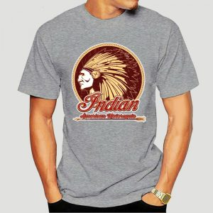 T-Shirt Indien Americain Motorcycle homme gris