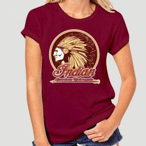 T-Shirt Indien Americain Motorcycle femme bordeau