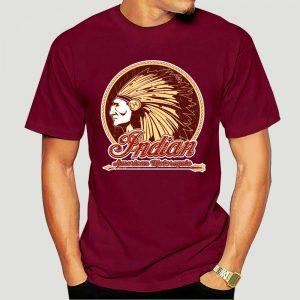 T-Shirt Indien Americain Motorcycle homme bordeau