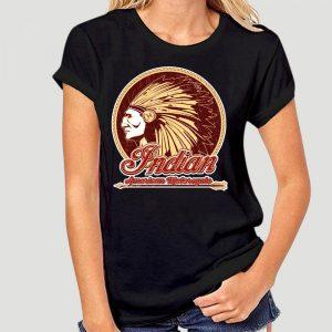 T-Shirt Indien Americain Motorcycle femme noir