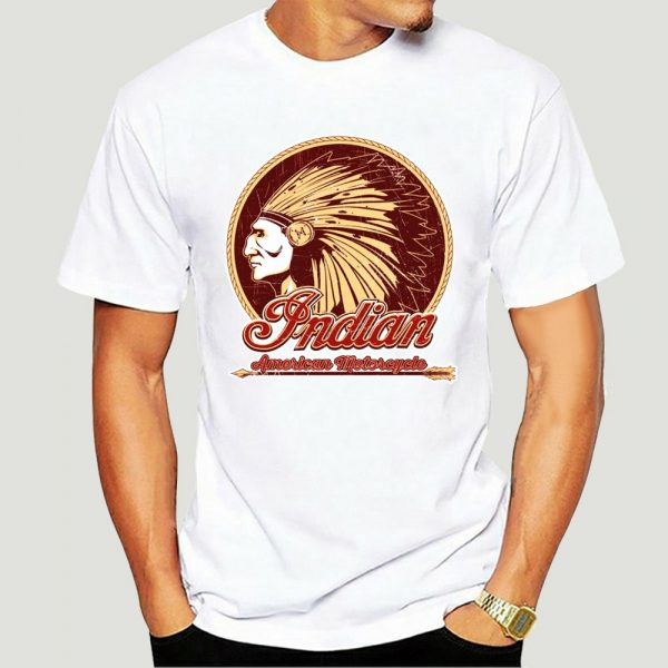 T-Shirt Indien Americain Motorcycle homme blanc
