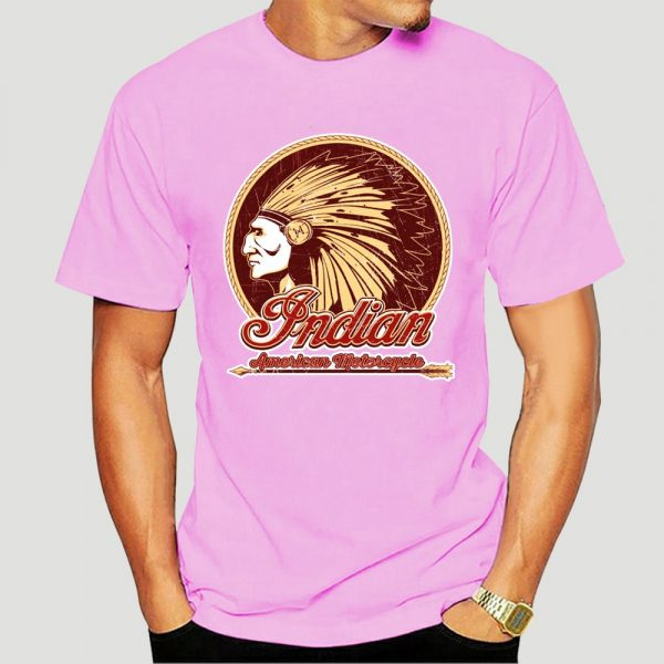 T-Shirt Indien Americain Motorcycle homme rose
