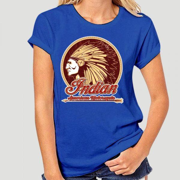 T-Shirt Indien Americain Motorcycle femme bleu