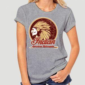 T-Shirt Indien Americain Motorcycle femme gris