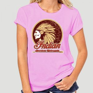 T-Shirt Indien Americain Motorcycle femme rose