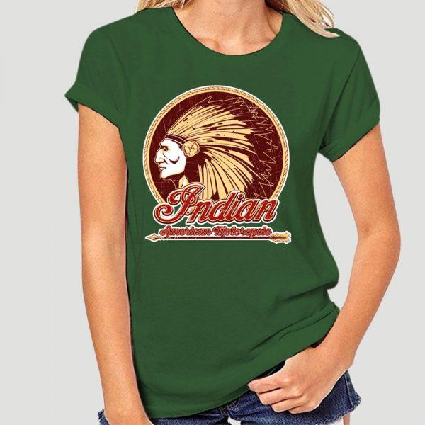 T-Shirt Indien Americain Motorcycle femme vert
