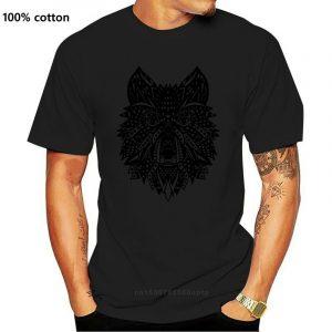 T Shirt Loup Indien Homme noir