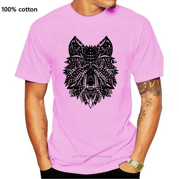 T Shirt Loup Indien Homme rose