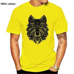 T Shirt Loup Indien Homme jaune
