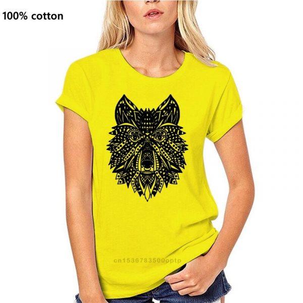 T Shirt Loup Indien Femme Jaune