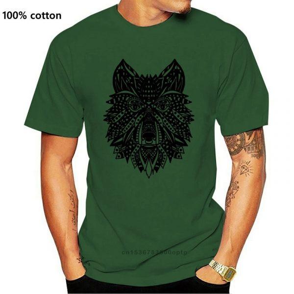 T Shirt Loup Indien Homme vert
