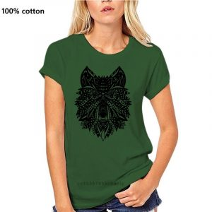 T Shirt Loup Indien Femme vert