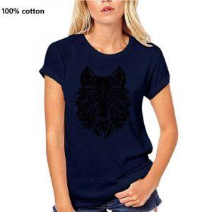 T Shirt Loup Indien Femme bleu nuit
