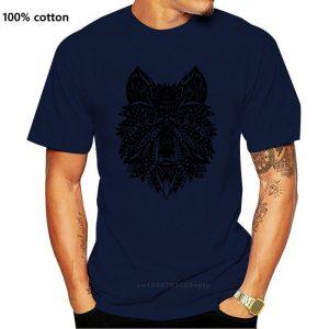 T Shirt Loup Indien Homme bleu nuit