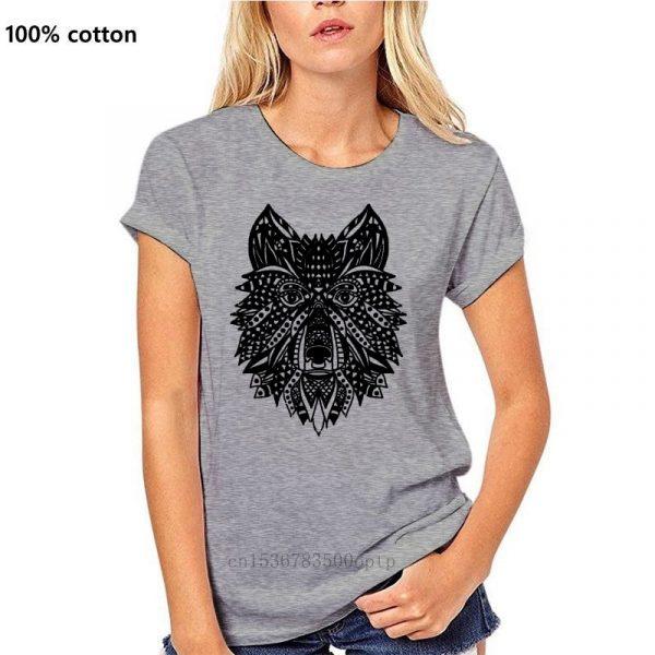 T Shirt Loup Indien Femme gris