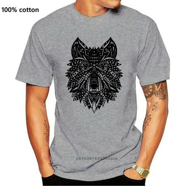 T Shirt Loup Indien Homme gris