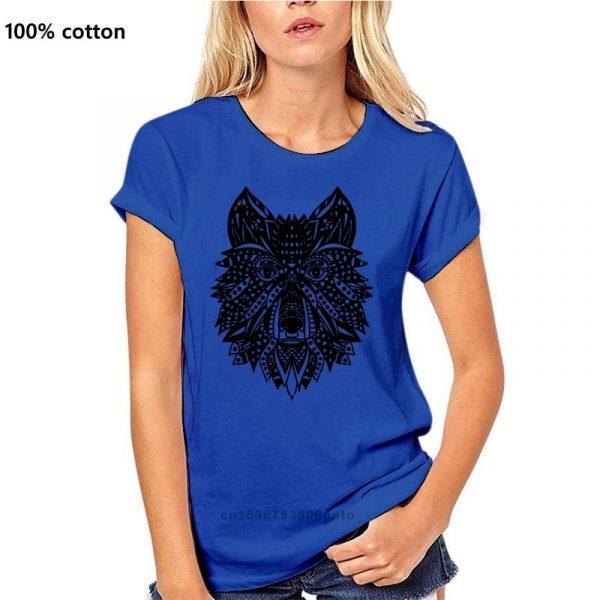 T Shirt Loup Indien Femme bleu