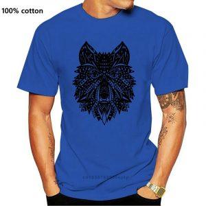 T Shirt Loup Indien Homme bleu