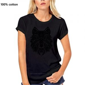 T Shirt Loup Indien Femme noir