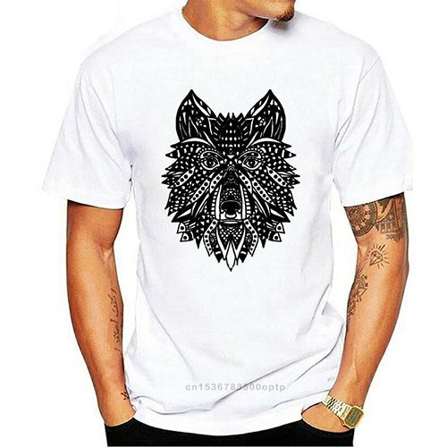 T Shirt Loup Indien Homme Blanc