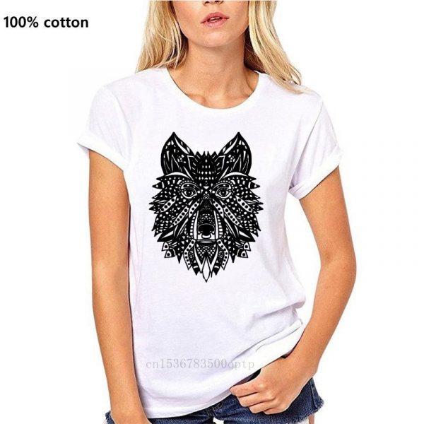 T Shirt Loup Indien Femme blanc