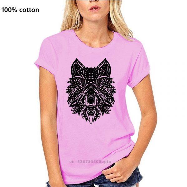 T Shirt Loup Indien Femme rose
