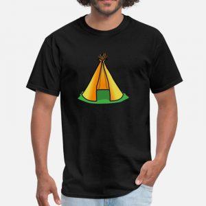 T Shirt Motif Tente Indienne noir