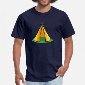 T Shirt Motif Tente Indienne bleu marine