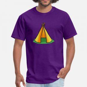 T Shirt Motif Tente Indienne bleu