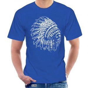 T-Shirt Indien tête de mort homme bleu