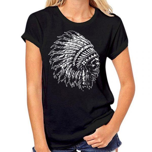 T-Shirt Indien tête de mort femme bleu nuit
