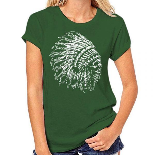 T-Shirt Indien tête de mort femme vert