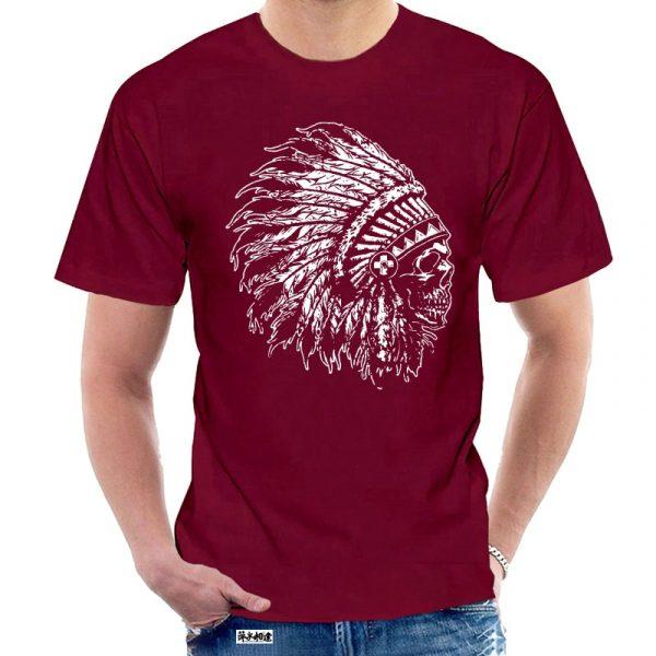 T-Shirt Indien tête de mort homme bordeau