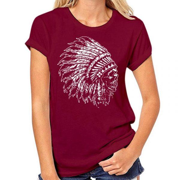 T-Shirt Indien tête de mort femme rouge